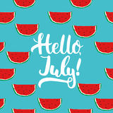 Hand drawn typography lettering phrase Hello, july on the watermelon seamless pattern background. Fun calligraphy for Stock Photography