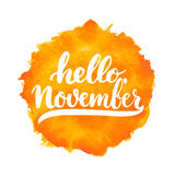 Hand drawn typography lettering phrase Hello, November isolated on the white background. Fun brush ink calligraphy Stock Photography