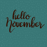Hand drawn typography lettering phrase Hello November. On rain drops background royalty free illustration