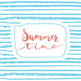 Hand drawn typography lettering phrase Summer time isolated on the blue striped background. Royalty Free Stock Photo