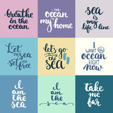 Hand drawn typography lettering phrases set about sea, ocean and summer time. Royalty Free Stock Images