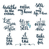 Hand drawn typography lettering phrases set about sea, ocean and summer time. Royalty Free Stock Photos