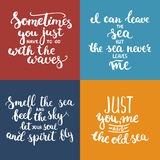Hand drawn typography lettering phrases set about sea, ocean and summer time. Stock Photo