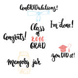 Hand drawn typography lettering phrases set to Class of 2016 GRAD . Modern calligraphy for Graduation. Hand drawn typography lettering phrases set to Class of royalty free illustration