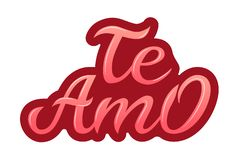 Hand drawn typography lettering Te amo. Te amo - I love you in Spanish, romantic decorative lettering. Vector Valentine royalty free stock photo