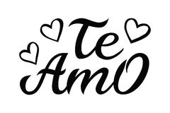 Hand drawn typography lettering Te amo. Te amo - I love you in Spanish, romantic decorative lettering. Vector Valentine. `s day card, poster, t-shirt print stock illustration