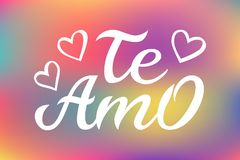 Hand drawn typography lettering Te amo. Te amo - I love you in Spanish, romantic decorative lettering. Vector Valentine. `s day card, poster, t-shirt print vector illustration