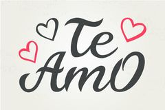 Hand drawn typography lettering Te amo. Te amo - I love you in Spanish, romantic decorative lettering. Vector Valentine stock illustration