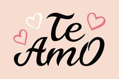 Hand drawn typography lettering Te amo. Te amo - I love you in Spanish, romantic decorative lettering. Vector Valentine. `s day card, poster, t-shirt print royalty free illustration