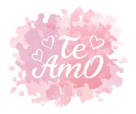 Hand drawn typography lettering Te amo. Te amo - I love you in Spanish, romantic decorative lettering. Vector Valentine vector illustration