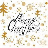 Hand drawn typography phrase Merry Christmas print with gold snowflakes. Winter holiday banner in golden color decorated gold snowflakes on white. Template for Royalty Free Stock Photography