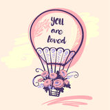 Hand drawn typography poster with balloon and text you are loved Royalty Free Stock Photography