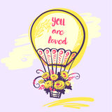 Hand drawn typography poster with balloon and text you are loved Stock Images