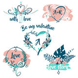 Hand drawn typography poster. Be my valentine with love story. Royalty Free Stock Image