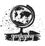 Hand drawn typography poster globe school geography lesson isolated on white background. Calligraphy lettering Stock Image