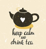 Hand drawn typography poster, greeting card or print invitation with teapot and phrase 'Keep calm and drink tea'. Royalty Free Stock Image