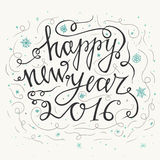 Hand drawn typography poster. Happy Holidays greetings hand-lettering inscription - Happy New Year  isolated on white background. Royalty Free Stock Photos
