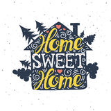 Hand drawn typography poster. Home Sweet Home. Can be used as a stock illustration
