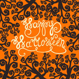 Hand drawn typography poster with quote Happy Halloween Royalty Free Stock Photography