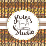 Hand drawn typography poster with sewing machine and stylish lettering Sewing studio. Stock Photos