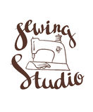 Hand drawn typography poster with sewing machine and stylish lettering Sewing studio. Stock Images