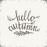 Hand drawn typography poster. Stylish typographic poster design with inscription - Hello Autumn. Isolated typographical design element for prints, posters Stock Photo