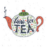 Hand drawn typography poster. Time for tea. Royalty Free Stock Photography