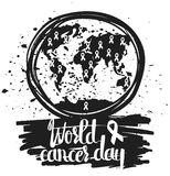 Hand drawn typography poster for the world cancer day  isolated on white background. Calligraphy lettering vector Stock Photography