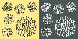 Hand drawn typography posters with brush lettering quotes Royalty Free Stock Photography