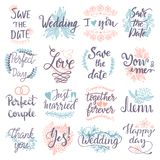 Hand drawn typography save the date quote text logo badge design wedding greeting cards or invitations illustration. Vector lettering phrases vector illustration