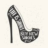 Hand drawn typography shoes design with positive quote. Vector i Stock Images