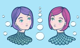 Hand drawn underwater mermaid twin girls with pink and purple hair wearing turquoise scaled shirt. Vector isolated illustration on a blue background Stock Photos