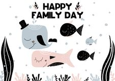 Hand drawn underwater vector illustration with seaweed and water bubbles. Happy famile day. Vector. Illustration Royalty Free Stock Images