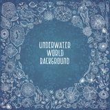 Hand drawn underwater world background Royalty Free Stock Photos
