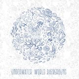 Hand drawn underwater world background Royalty Free Stock Photography