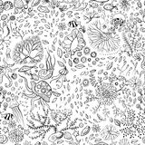 Hand drawn underwater world seamless background Stock Photo