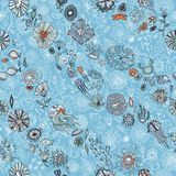 Hand drawn underwater world seamless background Royalty Free Stock Photography