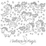 Hand drawn unicorns, rainbow and stars in outline.
