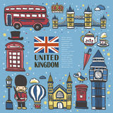 Hand drawn United Kingdom travel impression Royalty Free Stock Photos