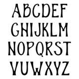 Hand drawn upper case alphabet. Vintage handwritten font in gothic style. Stock Image