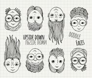 Hand drawn upside down doodle faces Royalty Free Stock Photography