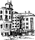 Hand drawn urban sketch Stock Photo