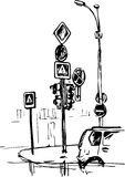 Hand drawn urban sketch Stock Images
