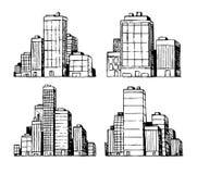 Hand drawn urban vector buildings skyscrapers. Hand drawn urban city vector buildings skyscrapers Royalty Free Stock Photo