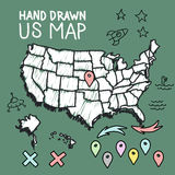 Hand drawn US map on chalkboard Royalty Free Stock Photo