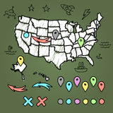 Hand drawn US map with pins Royalty Free Stock Photos
