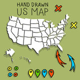 Hand drawn US map with pins. Hand drawn US map vector illustration royalty free illustration