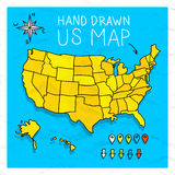Hand drawn US map with pins. Hand drawn US map whith map pins vector illustration vector illustration
