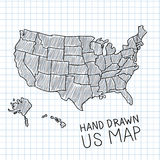 Hand drawn US map Stock Images