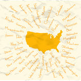 Hand Drawn USA states vector on crumpled paper Royalty Free Stock Image